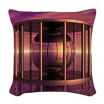 Metal Cage Floating In Water Woven Throw Pillow