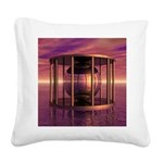 Metal Cage Floating In Water Square Canvas Pillow