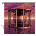 Metal Cage Floating In Water Shower Curtain