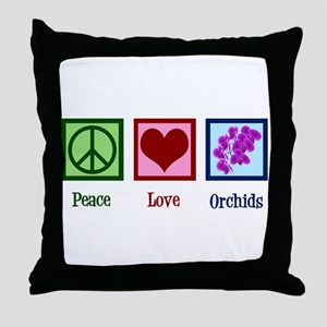 Peace Love Orchids Throw Pillow