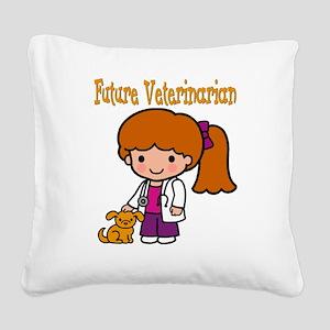 cute future vet Square Canvas Pillow