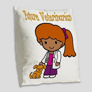 cute future vet Burlap Throw Pillow