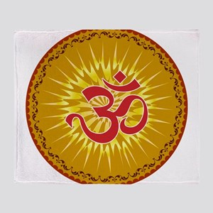 Om Sacred Sound Spiritual Meditation Throw Blanket