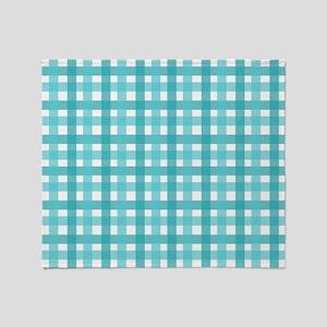 Light Blue Picnic Cloth Pattern Throw Blanket