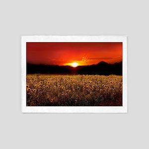 Sunflower Sunset 5'x7'Area Rug