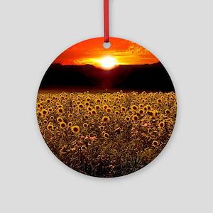 Sunflower Sunset Round Ornament