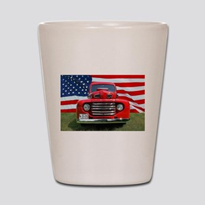 1948 Red Ford Truck USA Flag Shot Glass