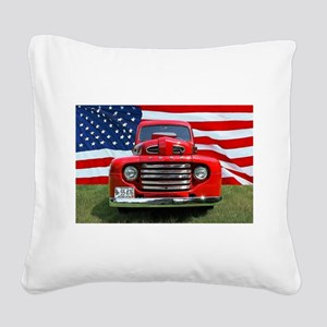 1948 Red Ford Truck USA Flag Square Canvas Pillow