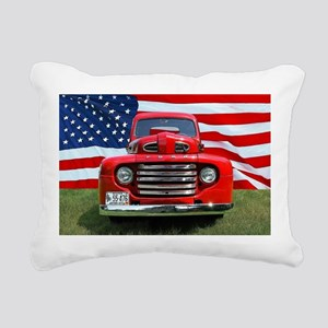 1948 Red Ford Truck USA Rectangular Canvas Pillow