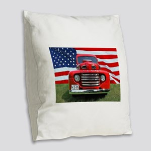 1948 Red Ford Truck USA Flag Burlap Throw Pillow