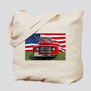 1948 Red Ford Truck USA Flag Tote Bag