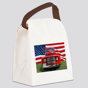 1948 Red Ford Truck USA Flag Canvas Lunch Bag