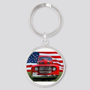 1948 Red Ford Truck USA Flag Keychains