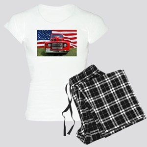 1948 Red Ford Truck USA Flag Pajamas