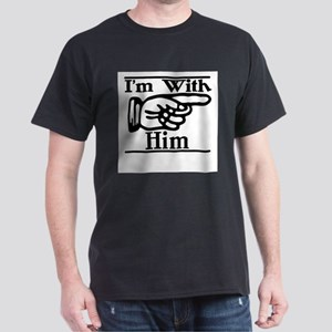 I'm With Him Left Ash Grey T-Shirt