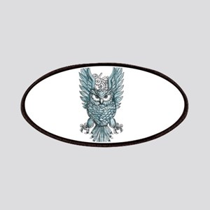 Owl Swooping Wings Clock Gears Tattoo Patch