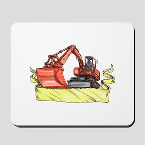 Mechanical Digger Excavator Ribbon Tattoo Mousepad