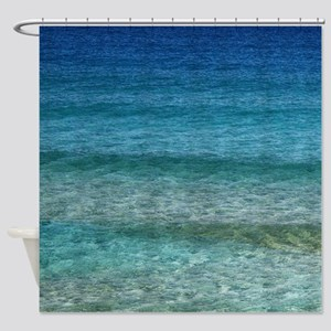 Blue Tropical Water Shower Curtain