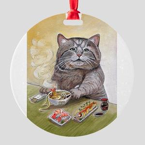 """Sushi Cat""© Christi Round Ornament"