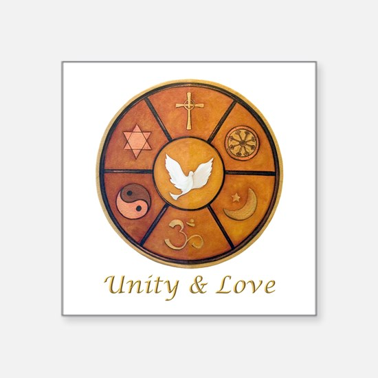 "Interfaith, Unity & Love - Square Sticker 3"" x 3"""