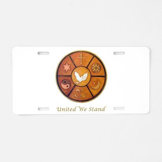 Interfaith, United We Stand Aluminum License Plate
