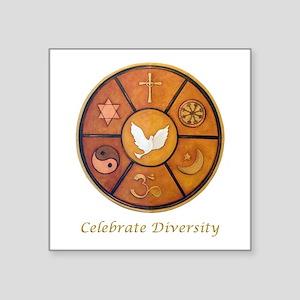 """Interfaith, Celebrate Diver Square Sticker 3"""" x 3"""""""