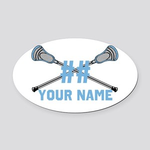 Personalized Crossed Lacrosse Sticks CBlue Oval Ca