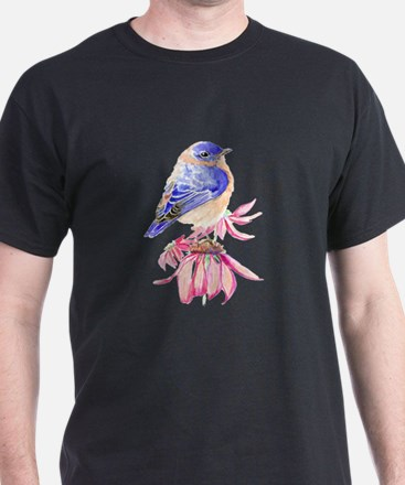 Watercolor Eastern Bluebird beautiful gard T-Shirt