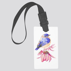 Watercolor Eastern Bluebird Large Luggage Tag