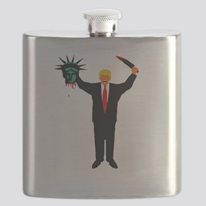 America First! Trump with Head of Lady Liber Flask