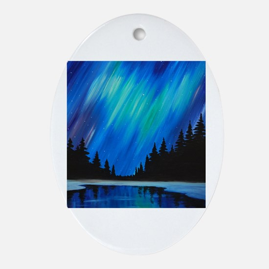 Unique Aurora borealis Oval Ornament