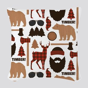 Lumberjack Design Woven Throw Pillow