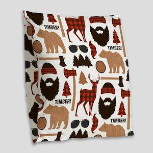 Lumberjack Design Burlap Throw Pillow