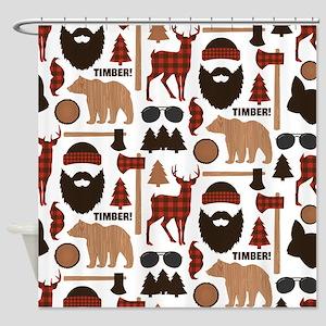 Lumberjack Design Shower Curtain