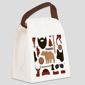 Lumberjack Design Canvas Lunch Bag