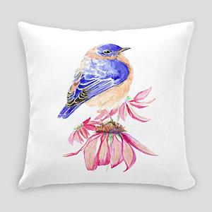 Watercolor Eastern Bluebird Everyday Pillow
