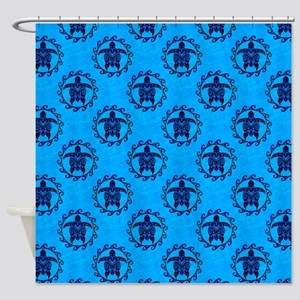 Tribal Turtle Sun Pattern Shower Curtain