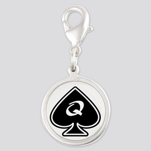 Queen Of Spades Silver Round Charm Charms