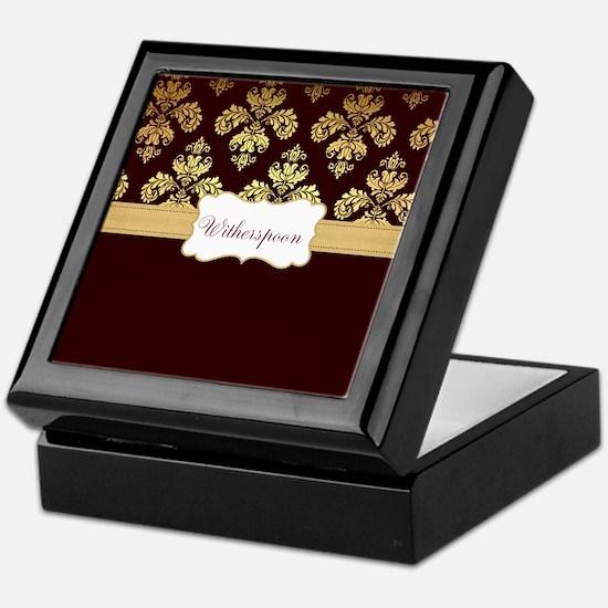 Burgundy Gold Damask Personalize Keepsake Box