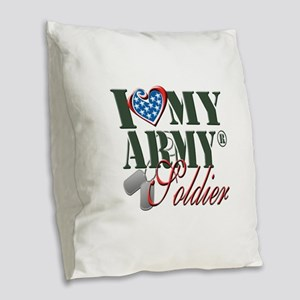 I Love My Army Family Burlap Throw Pillow