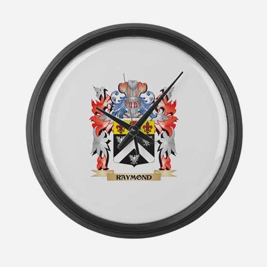 Raymond Coat of Arms - Family Cre Large Wall Clock
