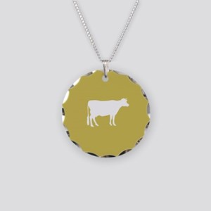 Cow: Mustard Yellow Necklace Circle Charm