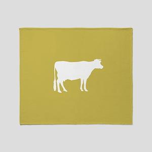Cow: Mustard Yellow Throw Blanket