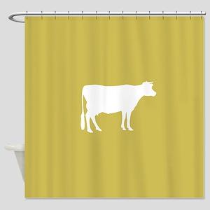 Cow Mustard Yellow Shower Curtain