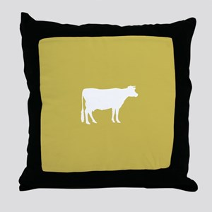 Cow: Mustard Yellow Throw Pillow