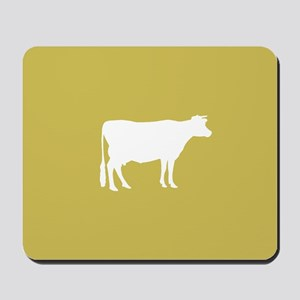 Cow: Mustard Yellow Mousepad