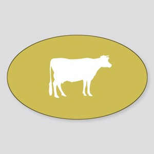 Cow: Mustard Yellow Sticker (Oval)