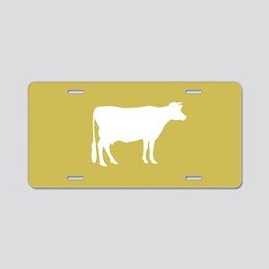Cow: Mustard Yellow Aluminum License Plate