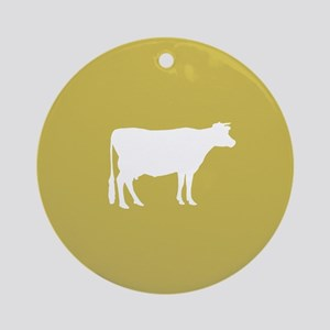 Cow: Mustard Yellow Round Ornament