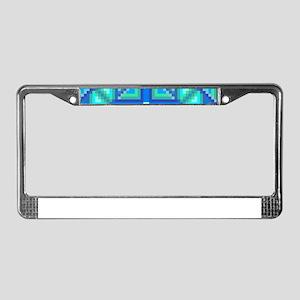 Triangle & Diamond Blue an License Plate Frame